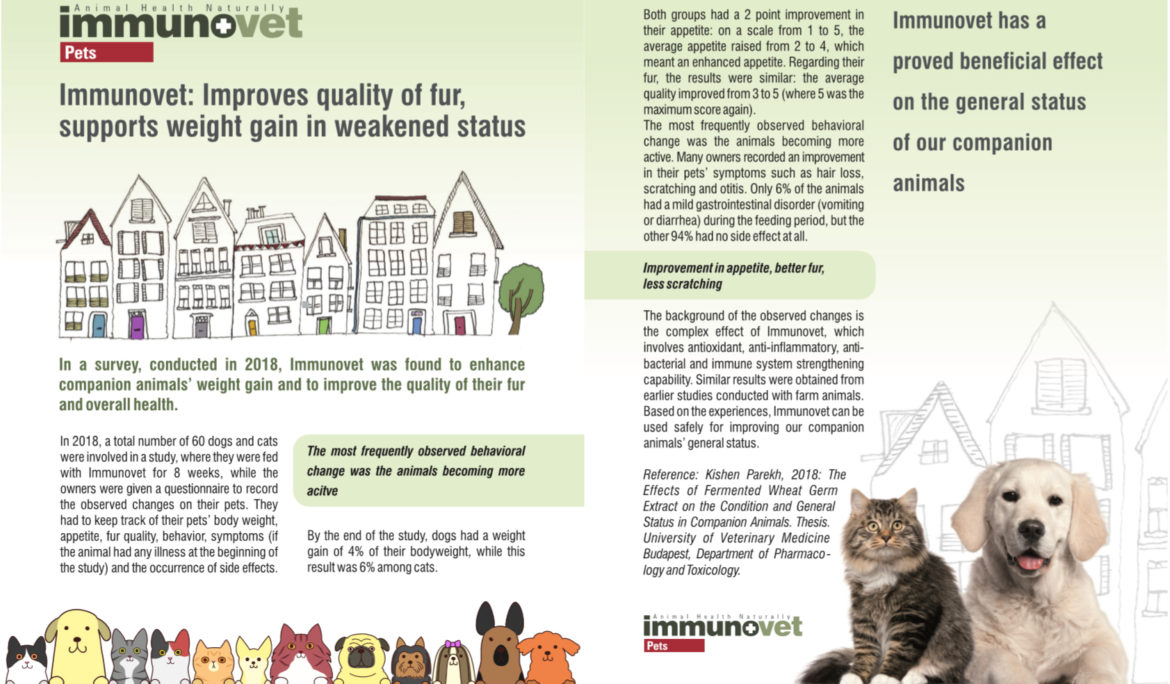 Immunovet: Improves quality of fur, supports weight gain in weakened status